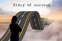 silhouette with wavy road and story of success text Stock Photos