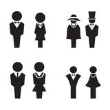 Silhouette WC, Restroom, toilet, icons set Royalty Free Stock Photos