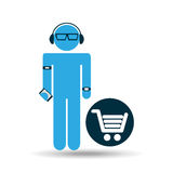 Silhouette wearable technology shopping Royalty Free Stock Images