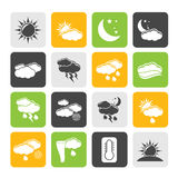 Silhouette Weather and meteorology icons Royalty Free Stock Image