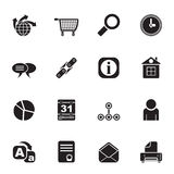 Silhouette Web Site, Internet and computer Icons Stock Image