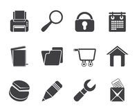 Silhouette website, internet and computer icons Stock Image