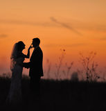 Silhouette of  wedding couple Stock Photography