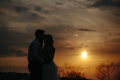 Silhouette of  wedding couple in field Stock Photos