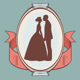 Silhouette of wedding couple Royalty Free Stock Images