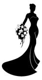 Silhouette Wedding Dress Bride Royalty Free Stock Photography