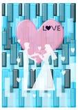 Silhouette, wedding invitation card Royalty Free Stock Photos