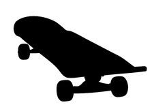 Silhouette of a well used skateboard Royalty Free Stock Photo
