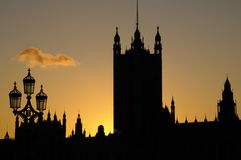 Silhouette of Westminster Palace, London ,UK. Silhouette of The Palace of Westminster at dusk against an almost cloudless sky at dusk Royalty Free Stock Photography