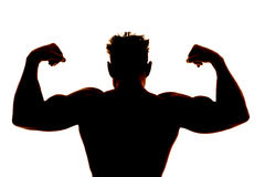 Silhouette Wet Man Muscles Back Flex Royalty Free Stock Photo