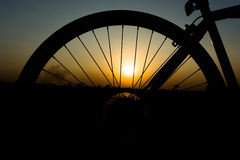 Silhouette of a wheel. View of a bicycle wheel in the silhouette Stock Images