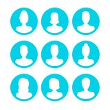 Silhouette White Avatars People Man and Woman Icon Set. Vector Stock Photo