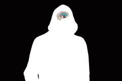 Silhouette of white hooded man on black with human brain model. Royalty Free Stock Image