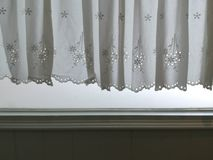 Silhouette White Lace satin curtain hanging on window and wall with sunlight semitransparent behind, decoration interior room Royalty Free Stock Photos