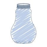 Silhouette wide glass bottle with blue stripes Stock Image