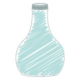 Silhouette wide glass bottle down with blue stripes Royalty Free Stock Photography