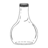 Silhouette wide glass bottle down Royalty Free Stock Images