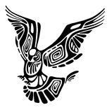 Silhouette of wild flying eagle. Silhouette of a wild flying eagle with big wings vector illustration