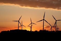 Silhouette of wind power station Royalty Free Stock Image