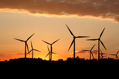 Silhouette of wind power station Stock Photo