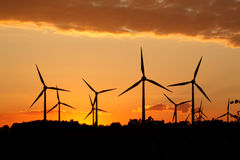 Silhouette of wind power station Royalty Free Stock Images