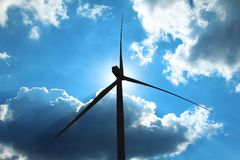 Silhouette wind turbine,renewable energy for the environment and sustainable development Royalty Free Stock Images