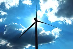 Silhouette wind turbine,renewable energy for the environment and sustainable development Stock Photography