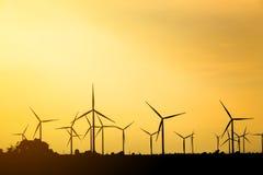 Silhouette of wind turbine Stock Photo