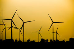 Silhouette of wind turbine Royalty Free Stock Photography