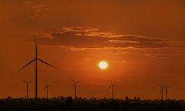 Silhouette wind turbine with sunset Royalty Free Stock Photography