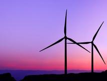 Silhouette wind turbine Stock Image