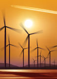 Silhouette of wind turbines. Generating electricity on sunset background Royalty Free Stock Photos