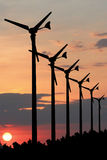 Silhouette Wind turbines. Royalty Free Stock Photo