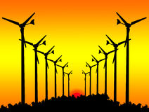 Silhouette Wind turbines on Sunset. Royalty Free Stock Photo