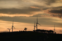 Silhouette of wind turbines at sunset Stock Image