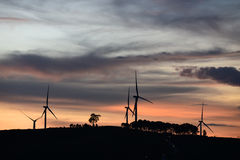 Silhouette of wind turbines at sunset Royalty Free Stock Photos