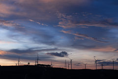 Silhouette of wind turbines at sunset Stock Images