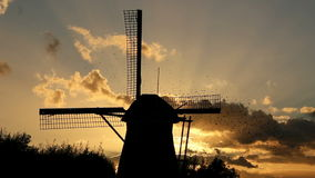 A Silhouette of a Windmill and a Flock of Birds Flying Over stock video footage