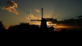 Silhouette of a Windmill at Sunset and a Swarm of Mosquitos stock video footage