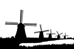 A silhouette of windmills in Kinderdijk, Holland Stock Image