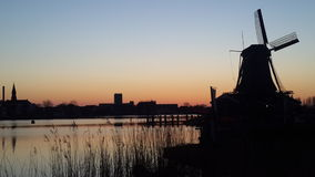 Silhouette windmills in Netherlands Royalty Free Stock Photo