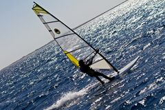 Silhouette of a windsurfer Royalty Free Stock Image