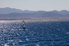 Silhouette of a windsurfer Stock Photo