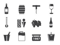 Silhouette Wine and drink Icons Stock Photo