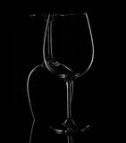 Silhouette of Wine Glasses on black background. Royalty Free Stock Image