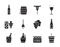 Silhouette Wine Icons Stock Image