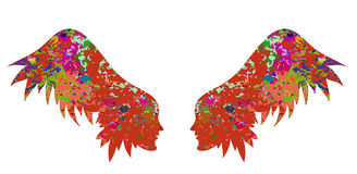 The silhouette of the wings from female faces. Royalty Free Stock Images