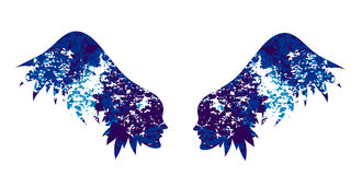 The silhouette of the wings from female faces. Royalty Free Stock Photography