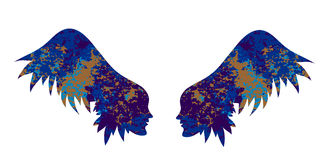 Silhouette of the wings from female faces. Stock Image