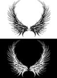 Silhouette of wings made like ink drawing. Black on white and white on a black background Royalty Free Stock Image